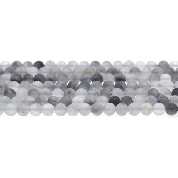Grey Cloudy Quartz Round Frosted 6mm - Loose Beads