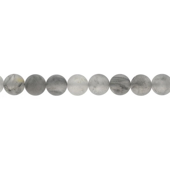Grey Cloudy Quartz Round Frosted 10mm - Loose Beads