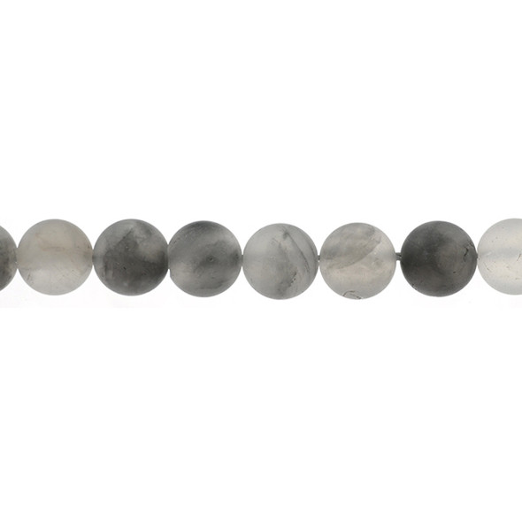Grey Cloudy Quartz Round Frosted 12mm - Loose Beads