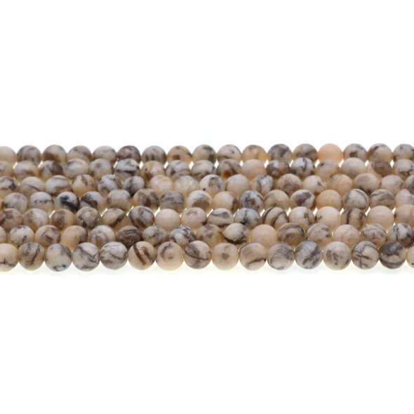 Graphic Feldspar Round Frosted 6mm - Loose Beads