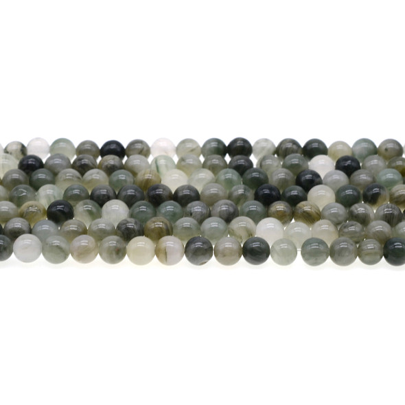 Green Line Quartz Round 6mm - Loose Beads