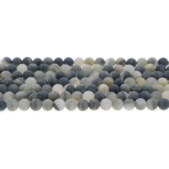 Green Line Quartz Round Frosted 6mm - Loose Beads