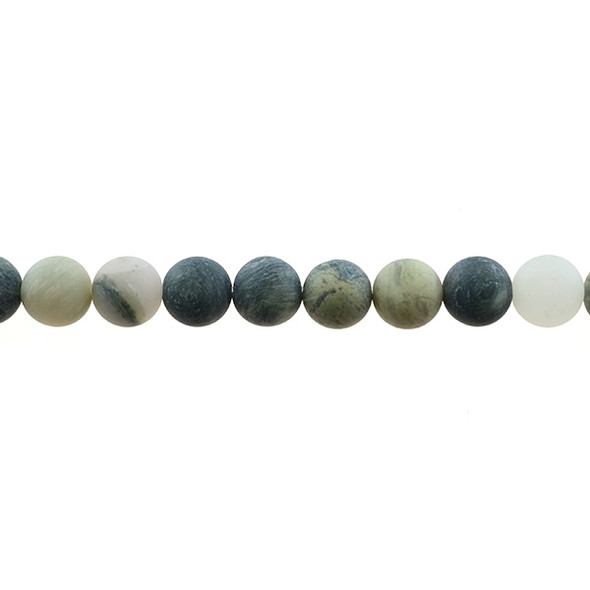 Green Line Quartz Round Frosted 10mm - Loose Beads