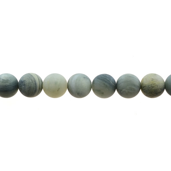 Green Line Quartz Round Frosted 12mm - Loose Beads