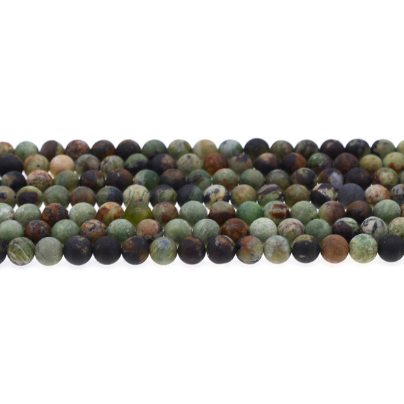 Green Opal Jasper Round Frosted 6mm - Loose Beads