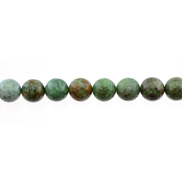 Green Opal Jasper Round Faceted 10mm - Loose Beads