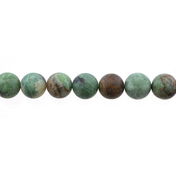 Green Opal Jasper Round Frosted 12mm - Loose Beads