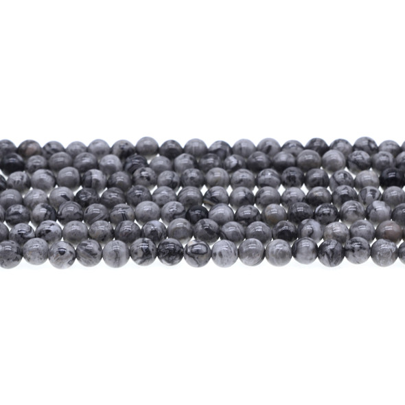Grey Picture Jasper Round 6mm - Loose Beads