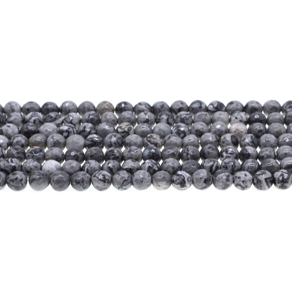 Grey Picture Jasper Round Faceted 6mm - Loose Beads