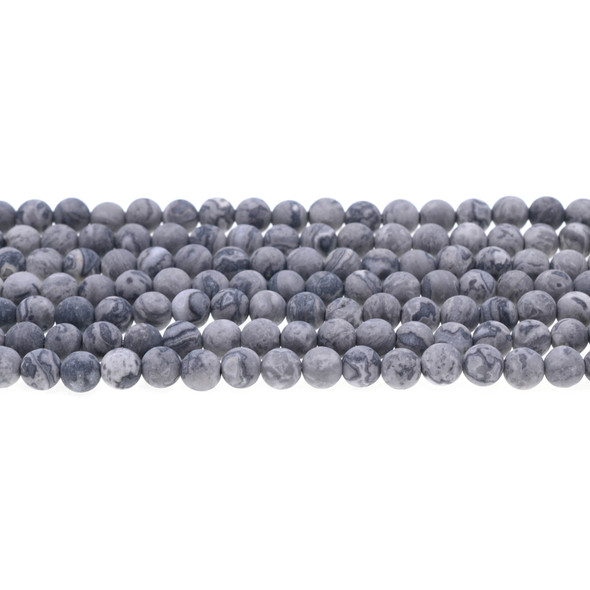 Grey Picture Jasper Round Frosted 6mm - Loose Beads