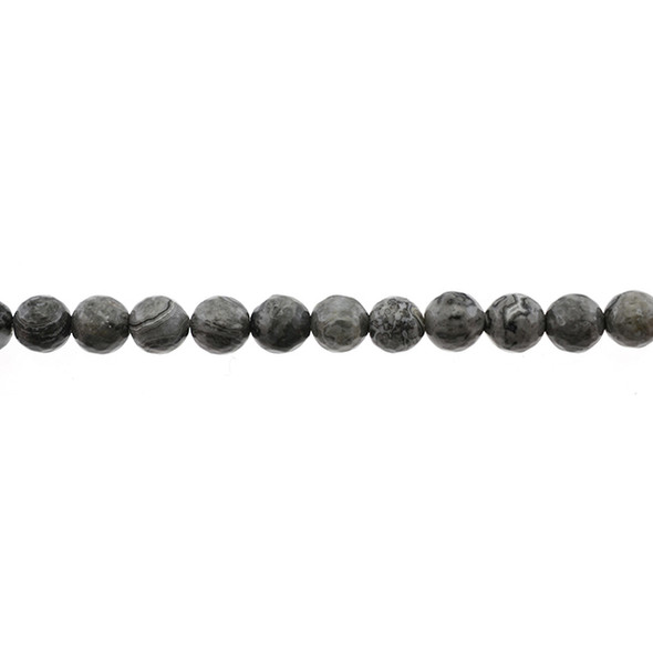 Grey Picture Jasper Round Faceted 8mm - Loose Beads