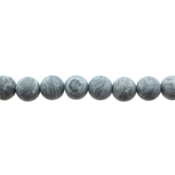 Grey Picture Jasper Round Frosted 12mm - Loose Beads