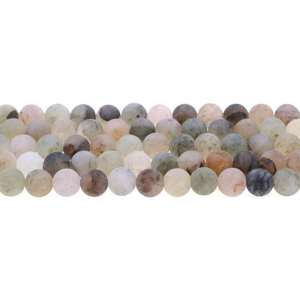 Green Phantom Quartz Round Frosted 8mm - Loose Beads