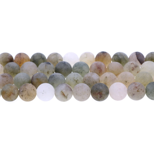 Green Phantom Quartz Round Frosted 10mm - Loose Beads