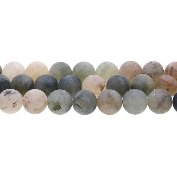 Green Phantom Quartz Round Frosted 12mm - Loose Beads