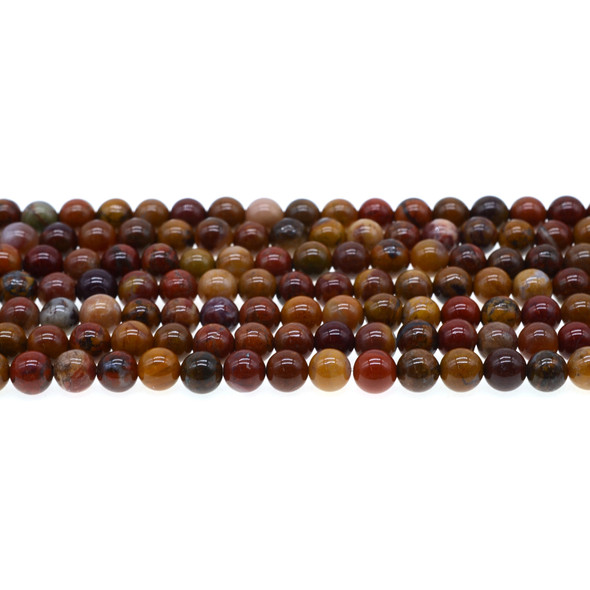 Golden Red Warring States Zhanguo Agate Round 6mm - Loose Beads