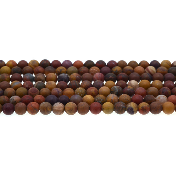 Golden Red Warring States Zhanguo Agate Round Frosted 6mm - Loose Beads