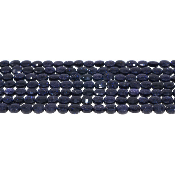 Blue Gold Stone Coin Puff Faceted Diamond Cut 6mm x 6mm x 3mm - Loose Beads