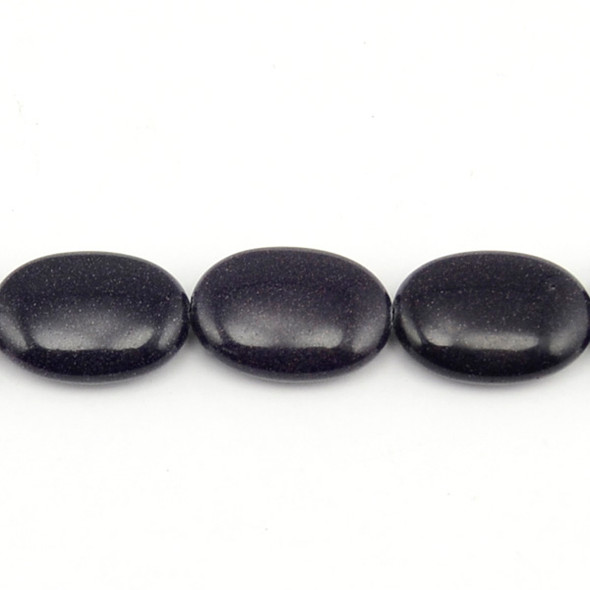 Blue Gold Stone Oval Puff 18mm x 25mm x 8mm - Loose Beads