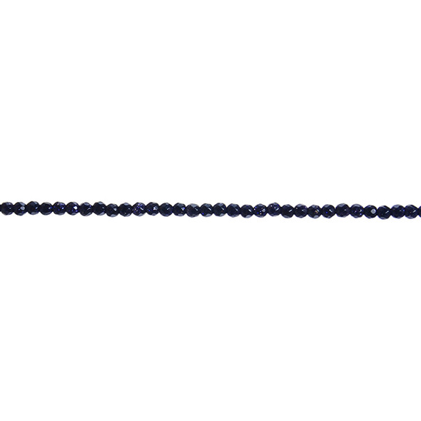 Blue Gold Stone Round Faceted 3mm - Loose Beads