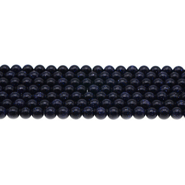 Blue Gold Stone Round 6mm - Loose Beads