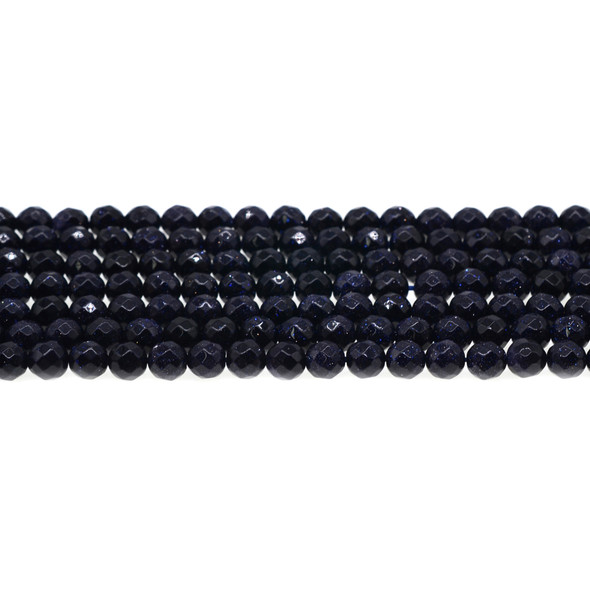 Blue Gold Stone Round Faceted 6mm - Loose Beads