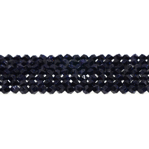 Blue Gold Stone Round Large Cut 6mm - Loose Beads