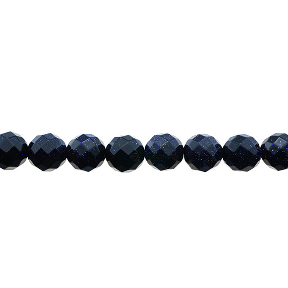 Blue Gold Stone Round Faceted 10mm - Loose Beads