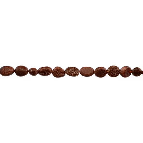 Brown Gold Stone Oval Puff Irregular 6mm x 8mm x 3mm - Loose Beads