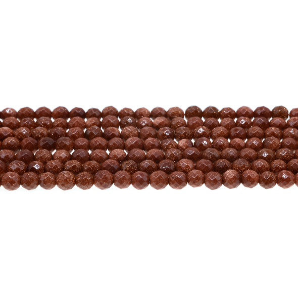 Brown Gold Stone Round Faceted 6mm - Loose Beads