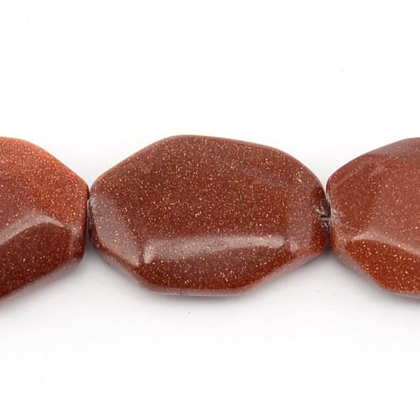 Brown Gold Stone Slab Irregular 30mm x 40mm x 13mm - Loose Beads