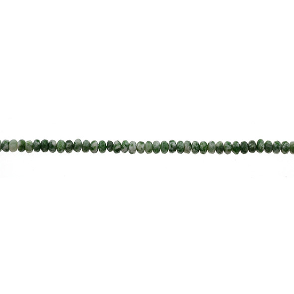 Green Spot Jasper Roundel Faceted 4mm x 4mm x 2mm - Loose Beads