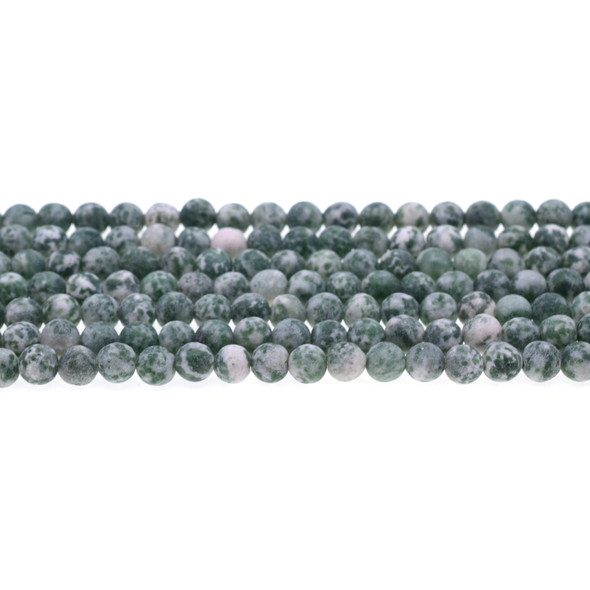 Green Spot Jasper Round Frosted 6mm - Loose Beads