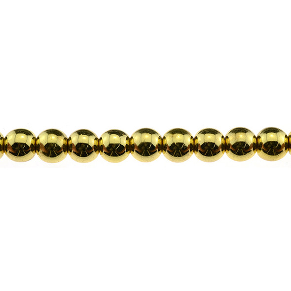 Gold Plated Hematite Round 10mm - Loose Beads
