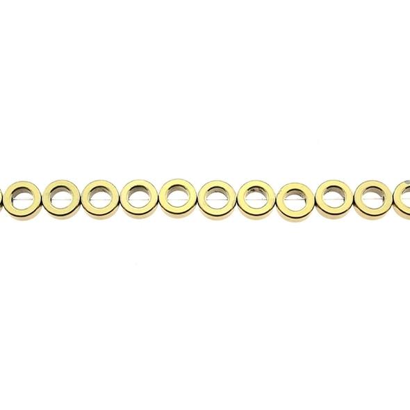 Golden Metallic Hematite Flat Donut 8mm x 8mm x 3mm - Loose Beads