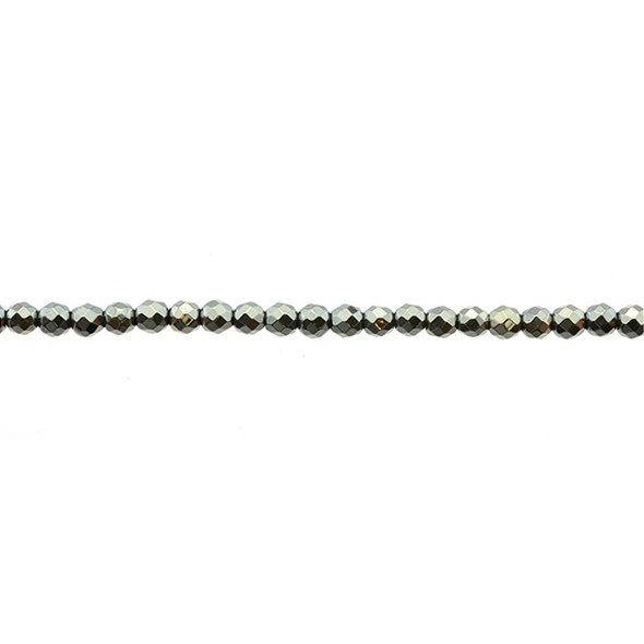 Golden Hematite Round Faceted 3mm - Loose Beads