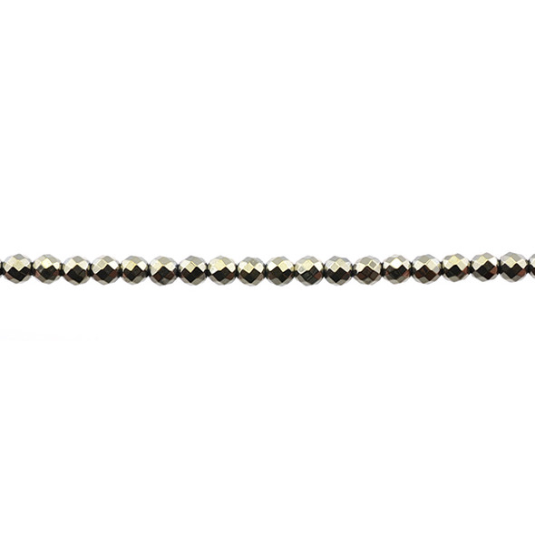Golden Hematite Round Faceted 4mm - Loose Beads