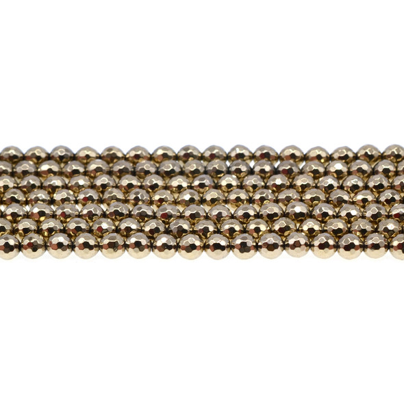 Golden Hematite Round Faceted 6mm - Loose Beads