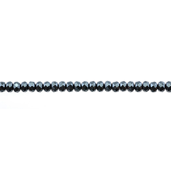 Hematite Roundels Faceted 4mm x 4mm x 3mm - Loose Beads