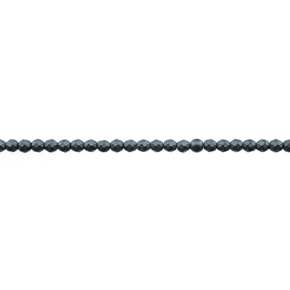 Hematite Round Faceted Frosted 3mm - Loose Beads