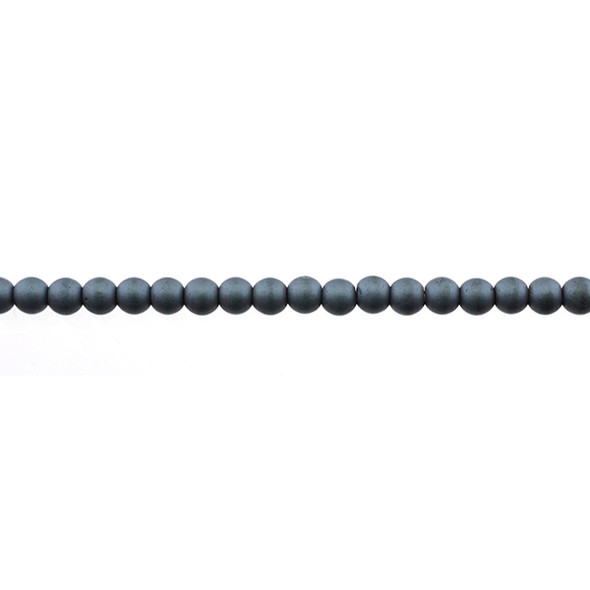 Hematite Round Frosted 4mm - Loose Beads