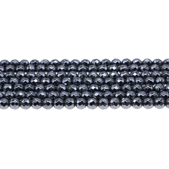 Hematite Round Faceted 6mm - Loose Beads