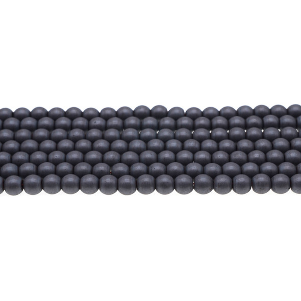 Hematite Round Frosted 6mm - Loose Beads