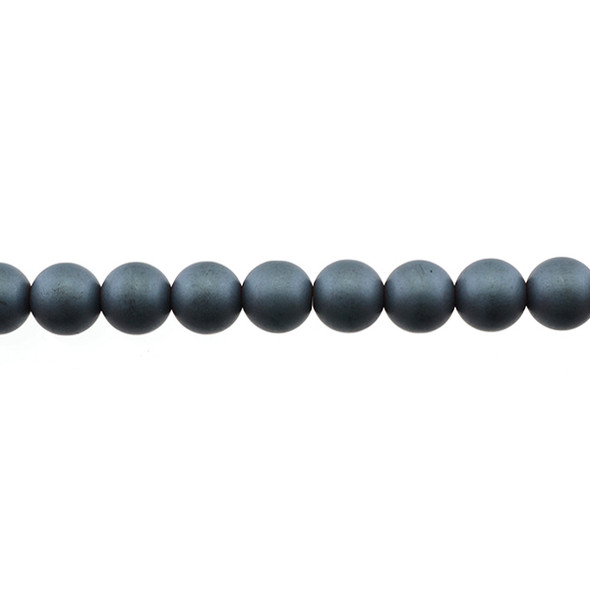 Hematite Round Frosted 8mm - Loose Beads