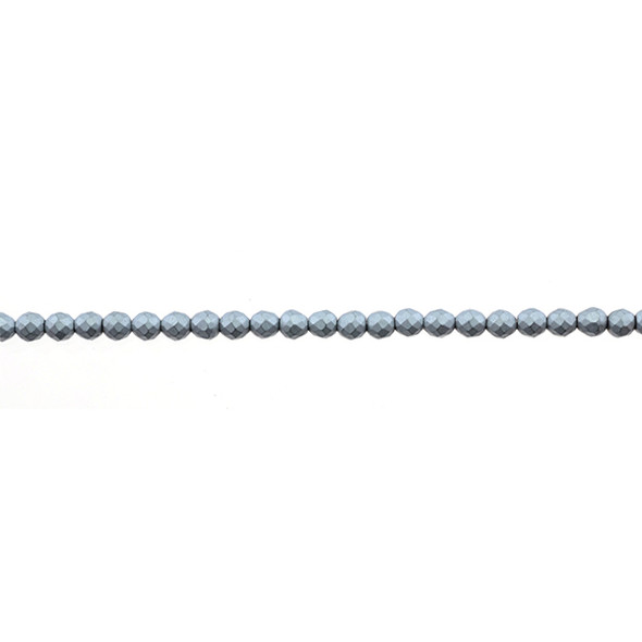 Silver Metallic Hematite Round Faceted Frosted 3mm - Loose Beads