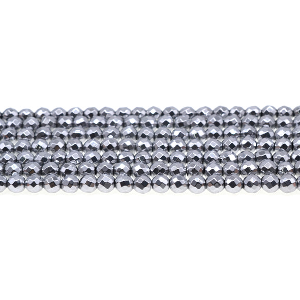 Silver Hematite Round Faceted 6mm - Loose Beads