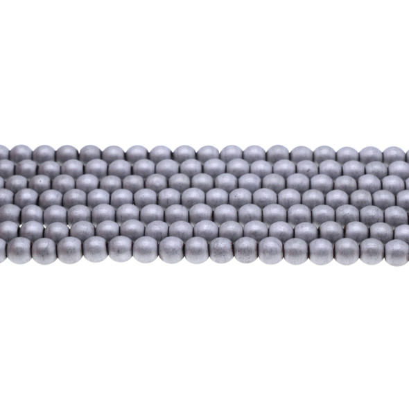Silver Metallic Hematite Round Frosted 6mm - Loose Beads