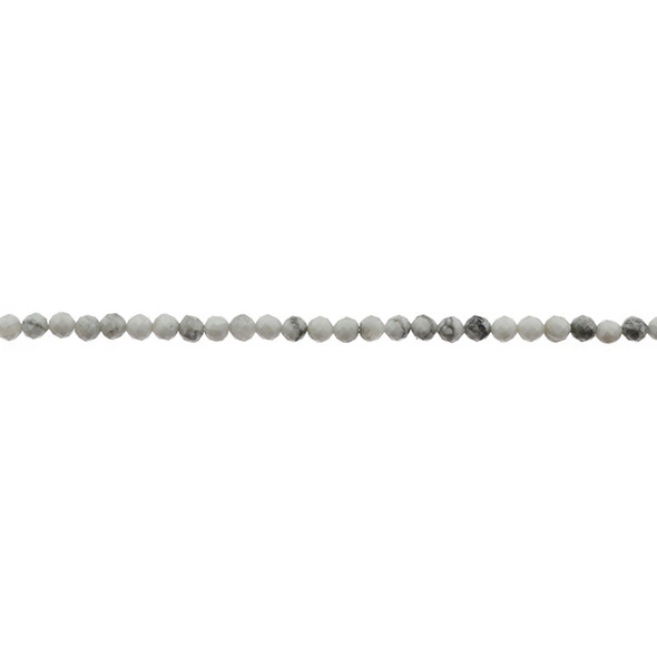 Howlite Round Faceted Diamond Cut 3mm - Loose Beads