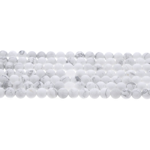 Howlite Round Frosted 6mm - Loose Beads
