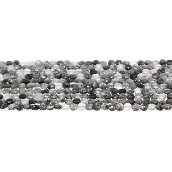 Hair Quartz Coin Puff Faceted Diamond Cut 4mm x 4mm x 2mm - Loose Beads